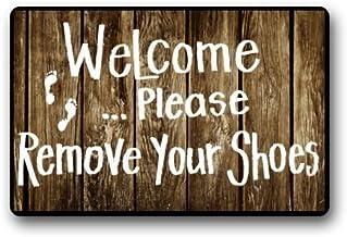 """Home&Apron Custom Machine-Washable Door Mat Welcome Please Remove Your Shoes Indoor/Outdoor Doormat 23.6""""(L) x 15.7""""(W)"""