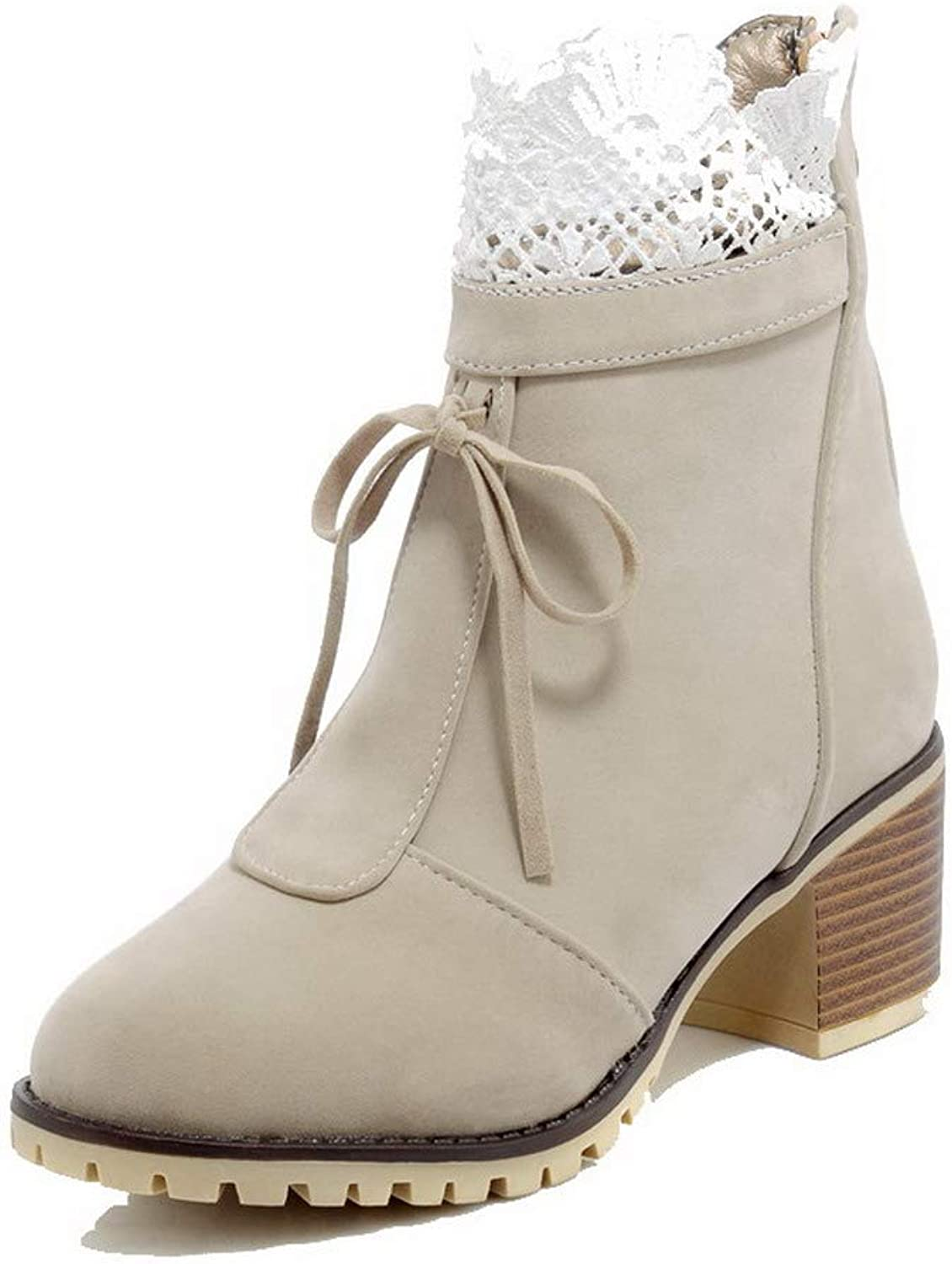 AllhqFashion Women's Assorted color Kitten-Heels Imitated Suede Zipper Boots, FBUXD117684