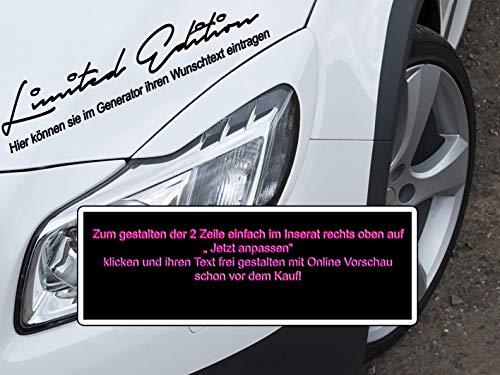 MS Car Sticker Limited Edition Aufkleber 2 Zeile mit Textgenerator selbst gestalten mit Vorschau