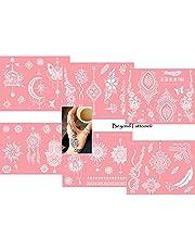 Beyond Mikronet tatuering schabloner för kroppsfärg självhäftande enkel och återanvändbar 6 ark set rosa