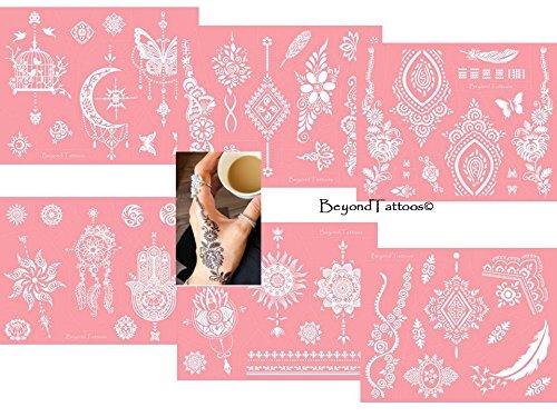 Mikronetz Tattoo Schablonen für Körperbemalung selbstklebend einfach und wiederverwendbar 6 Sheet set Pink