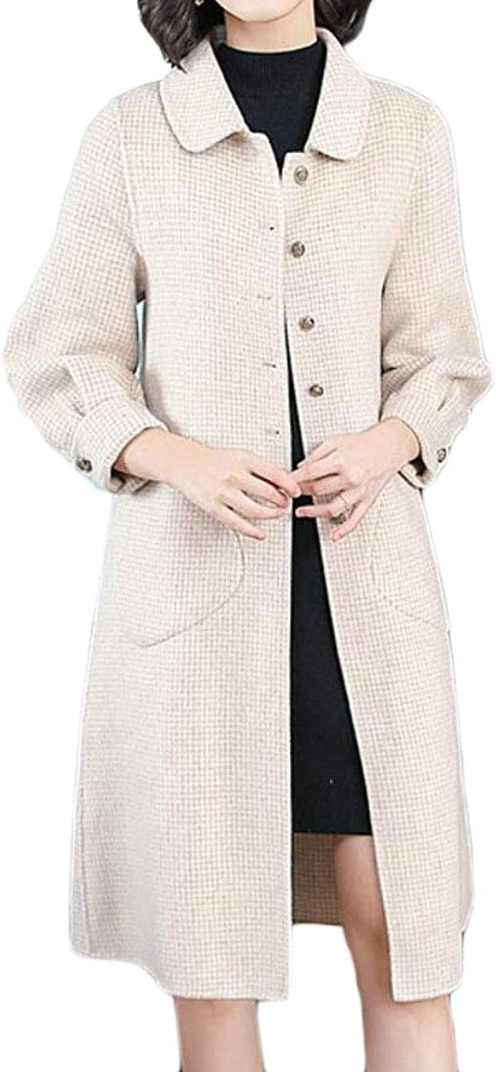 Jotebriyo Women's Fall & Winter Houndstooth Print Single Breasted Mid Long Wool Blend Trench Pea Coat