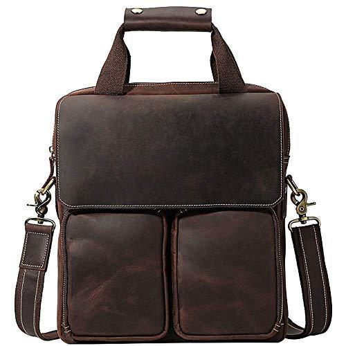 Dirgee Bolso portátil de 13 Pulgadas Maletín Informal de Cuero Hombro Hombro Messenger Bag Retro Cuero Vertical Maletín Portátil Casual Estilo Vintage (Color : Dark Brown, Size : 29x33x8cm)