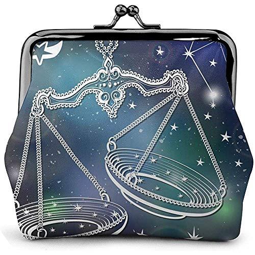 Waage Vintage Horoskop Sternbild Sterne Leder Floral Geldbörse Clutch Pouch Wallet für Frauen