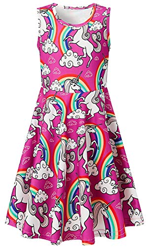 chicolife Chicas 4-7t Princesa Vestido Unicornio Imprimen Dibujos Animados patrón Vestido sin Mangas Rosa Medio