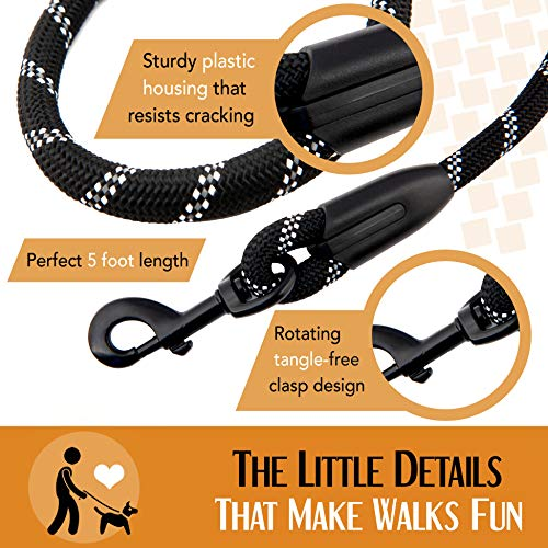 Strong Dog Leash, Reflective Rope, Chew Resistant Paracord for Medium and Large Dogs, Durable Metal Clasp, Attaches to Pet Collar (5 Foot, Black)