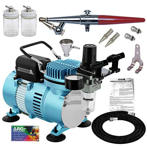 Paasche H Airbrush Set with a Master 1/5 hp Cool Runner II Dual Fan Air Compressor System, Single-Action External Mix Siphon Feed Airbrush, All 3 Head Sizes (1, 3 & 5), Hose, Holder, How-To Guide
