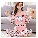 FullRose Pijama de Invierno para Mujer, Pijama de Dibujos Animados, Pijama Estampado, Manga Larga Long Tail Cat XXL