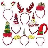 8 Pack Christmas Headbands, Fancy Elf Reindeer Antlers Xmas Tree Bells Santa Hat Headbands for Kids Adults Party Favors