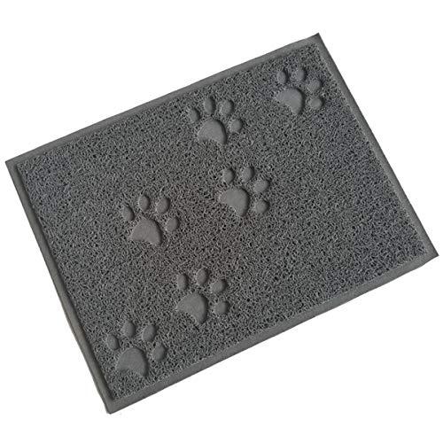 JieGuanG - Alfombrilla de comida para mascotas, impermeable, antideslizante, bandeja de alimentación para perros y gatos (gris)