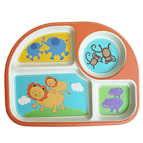 Vajilla para niños de fibra de bambú plato de cena para bebés placa de división de cuatro rejillas plato de cena de suplemento de comida para bebés de jardín de infantes de dibujos animados