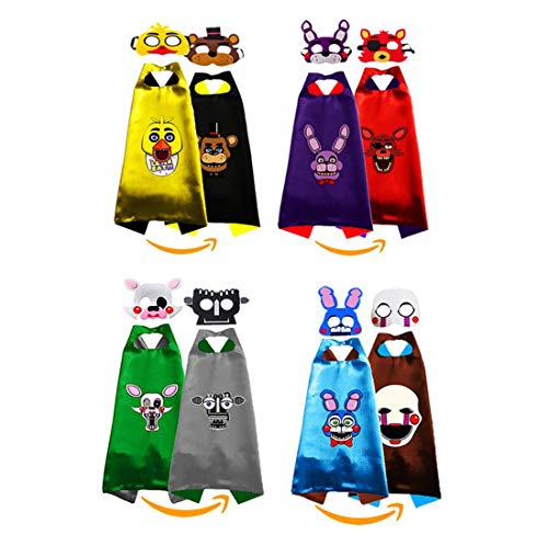 4 Sets Five Nights at Freddys Costumes 2-Side Cosplay Capes and Masks...