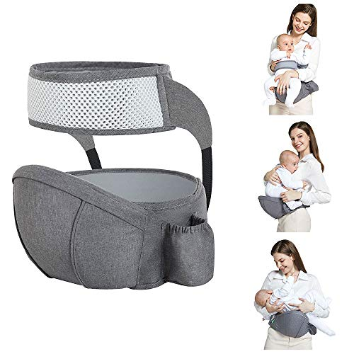 Hip Seat Baby Carrier with Safety Belt Protection, Multifunctional Soft Ergonomic Waist Stool, Light Weight and Labor Saving Front Carrier Belt for Toddler Grey