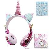 Auriculares Unicornio para Niña,Auriculares Oreja de Gato de 85dB Volumen Limitado con Mic para Niños Navidad/Fiestas/Regalos de cumpleaños (Auriculares con Cable)