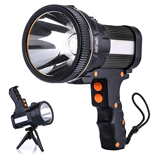 LED Handheld Tactical Flashlight Super Bright Rechargeable 6000mAh 7000 Lumen Long Lasting Spot Light CREE Water Resistant Torch 5 Light Modes Side Floodlight with USB Output (Black)
