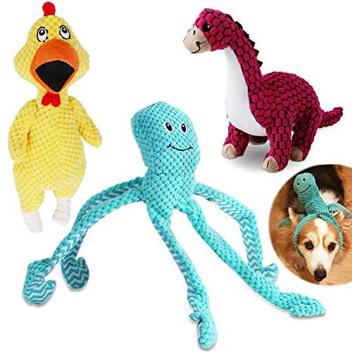 Juguete para Perro chirriante, 3pcs Juguetes de Peluche con Sonido, Juguetes masticables duraderos para limpieza de los dientes, para Perros pequeños y medianos - Grito de pollo, dinosaurio y