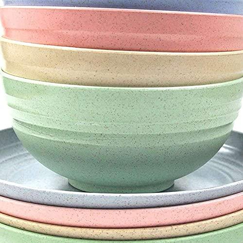 YuKeShop Juego de vajilla de paja de trigo, platos reutilizables para cuencos de cocina de 22 onzas y platos de 8 pulgadas, ligero y duradero