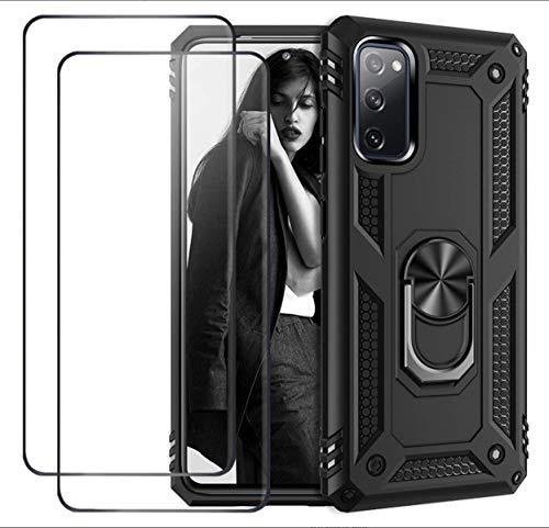 Funda Xiaomi Mi 10T Lite 5G Case [2020] + [2 Pack] Cristal Templado, Ultrafina Antigolpes Anti-Arañazos Carcasa con Soporte Mi 10T Lite 5G Bumper Híbrida Antigolpes Resistente (Negro)