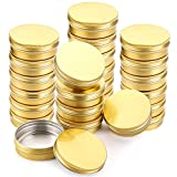Foraineam 24 Pieces 4 oz Screw Lid Round Tins Aluminum Empty Tins Golden Metal Storage Tin Jars Spice Containers Travel Tin Cans