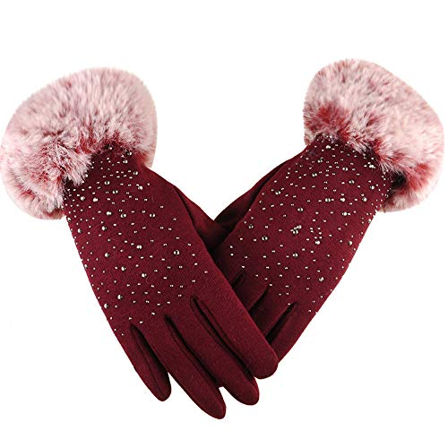 Cinhent Gloves Women Fashion Rhinestone Winter Ski Wind Protect Hands Wearing