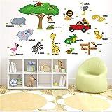 manyaxiaopu Cartoon Animal English Camera dei Bambini Scuola Materna Asilo Decorazione Adesivi Murali PVC Rimovibile 118X75Cm