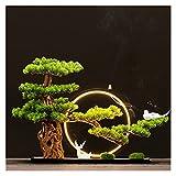 planta artificial con maceta 17 pulgadas Árbol bonsái artificial, ornamentos de pino de imitación con anillos luminosa de lámpara, plantas falsas Bonsai Pine Tree para la decoración de la pantalla de