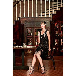 Metme Women's 1920s Vintage Flapper Fringe Beaded Great Gatsby Party Dress, Black, XX-Large