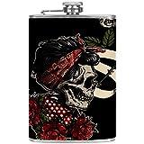 Bennigiry Flasque en acier inoxydable pour homme Motif tête de mort Rose