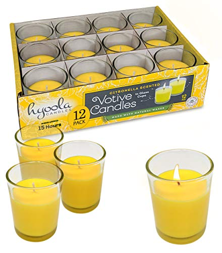 Hyoola Citronella Candle Votives in Glass Cup - 12 Pack - Indoor and Outdoor Decorative and Mosquito, Insect and Bug Repellent Candle - Natural Fresh Scent – 15 Hour Burn Time