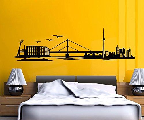 Wandtattoo Leverkusen Skyline Stadt Wand Sticker Aufkleber Wandbild 1M079, Farbe:Beige glanz;Länge des Motives:180cm