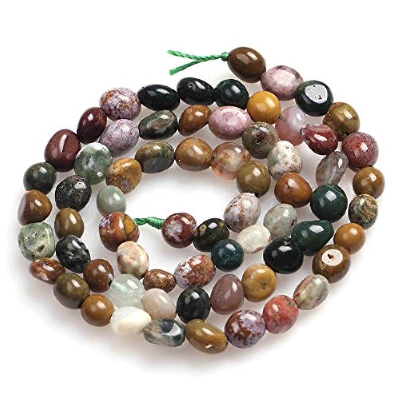 Ocean Jasper Beads for Jewelry Making Natural Gemstone Semi Precious 6x8mm Freeform Potato Shape 15