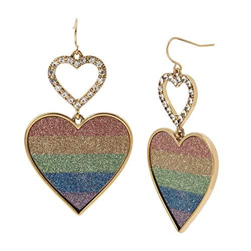 Betsey Johnson Glitter Heart Double Drop Earrings, RAINBOW, 293708GLD960, 293708GLD960, 293708GLD960, 293708GLD960