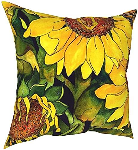 Fundas de almohada Vitage Sunflower Square Throw Pillow Fundas 18 * 18 pulgadas, modernas fundas de almohada decorativas de poliéster para exteriores para cama, sofá, dormitorio, coche, sala de estar