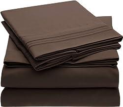 Mellanni Bed Sheet Set - Brushed Microfiber 1800 Bedding - Wrinkle, Fade, Stain Resistant - 5 Piece (Split King, Brown)