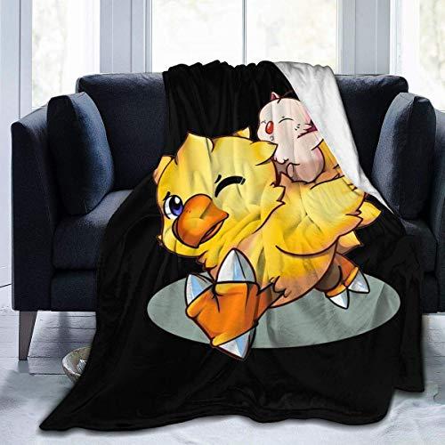 Final Fantasy Mog and Chocobo Couverture ultra douce en micro polaire pour lit canapé et salon Convient pour l'automne hiver et le printemps 127 x 152,4 cm