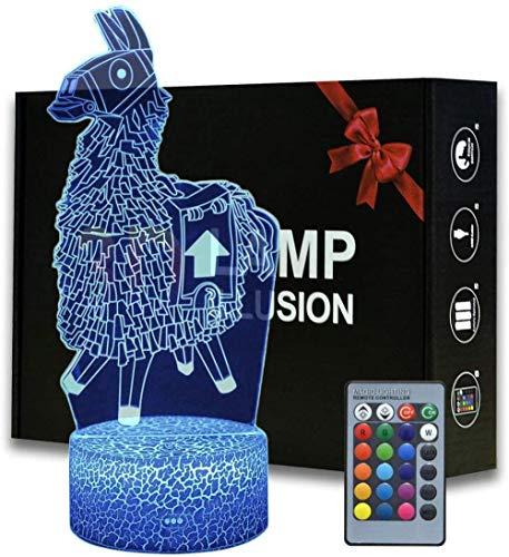 3D Illusion Battle Royale Lama Nachtlicht, Spielthema Tischlampe mit ferngesteuerter Schlafzimmerdekoration, kreative Schreibtischlampe zum Geburtstag (-Llama)