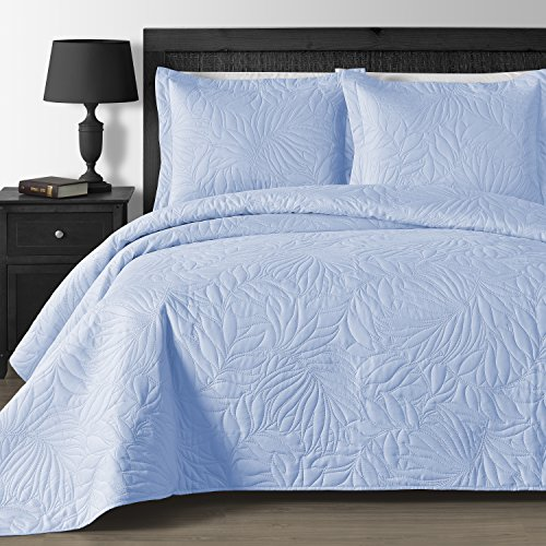 Comfy Bedding Extra Lightweight and Oversized Thermal Pressing Leafage 3-piece Coverlet Set (Full/Queen, Blue)
