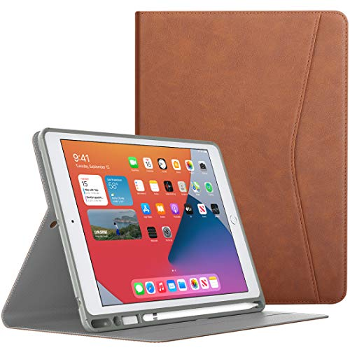TiMOVO Case for New iPad 8th Generation 2020 / iPad 7th Generation 10.2 2019, with Apple Pencil Holder, Multiple Viewing Angles Leather Folding Folio & Auto Wake/Sleep Fit iPad 10.2-inch, Brown