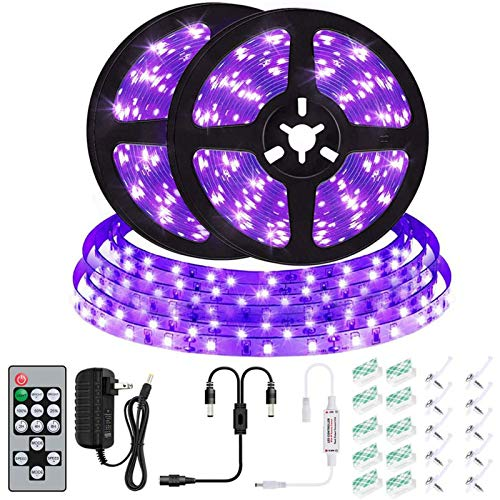 UV Black Light Strip Kit - 33ft LED 12V Flexible Blacklight Nightlights Fixtures with Remote, CIYOYO 2021 10m Ribbon 600 Units Beads for Indoor Bedroom Dance Glow Dark Party Posters Birthday Wedding