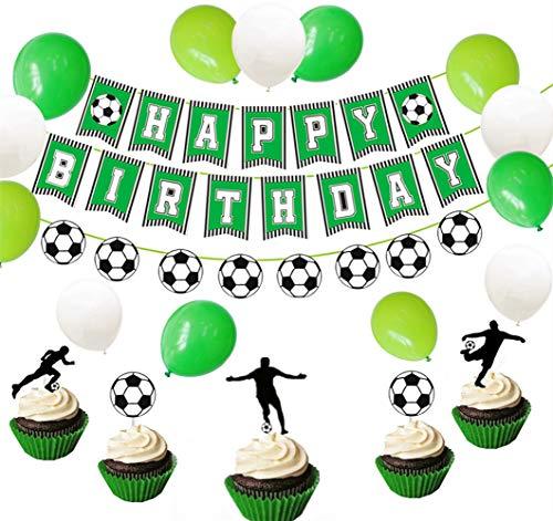 JeVenis Juego de 26 banderines deportivos para fiesta de fútbol, fútbol, fútbol, cumpleaños, decoración de tartas de fútbol