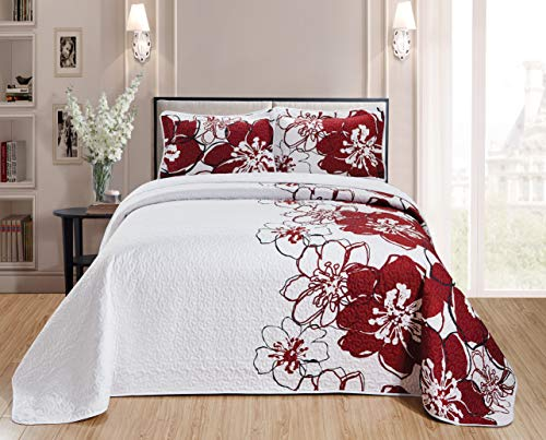 Home Collection Quilt Bedspread Set Over Size Flowers Printed White Red Full/Queen New