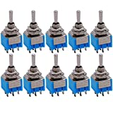 Taiss / 10 pezzi AC 125 V 6 A Ampere ON/OFF/ON Interruttore a levetta DPDT a 3 posizioni 6 pin MTS-203