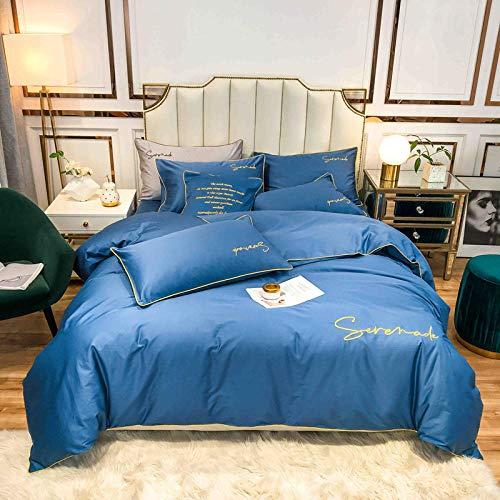 funda de edredón cama 90,Ropa de cama de seda de verano, seda de hielo Set de edredón de seda plana Funda de almohada de bordado individual, adecuado para sala de niños Habitación de dormitorio Apart