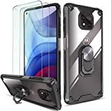 QHOHQ Case for Motorola Moto G Power 2021 with 2 Pack Tempered Glass Screen Protector,[360° Rotating Stand] [5 Times Military Grade Anti-Fall Protection],Transparent PC Back Cover, Soft TPU Edge-Black