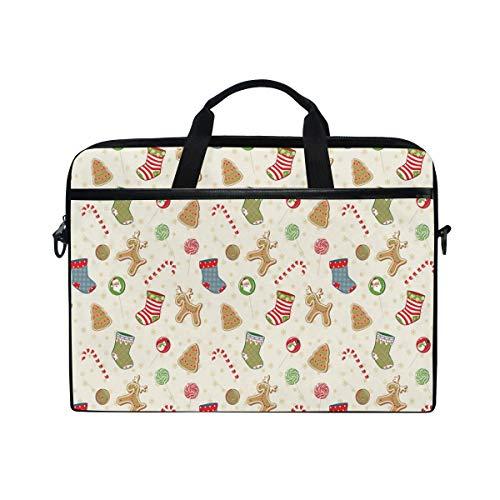 VICAFUCI New 15-15.4 Zoll Laptop Tasche,Umhängetasche,Handtasche,Traditionelle Bonbons von Weihnachtspartei-Lebkuchen-Plätzchen-Lutscher-Süßigkeiten mit Socken