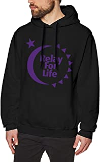 Nutmix Men's Relay for Life Sport Long Sleeve Pullover Hoodies - Available Up to Size 3XL XL Black