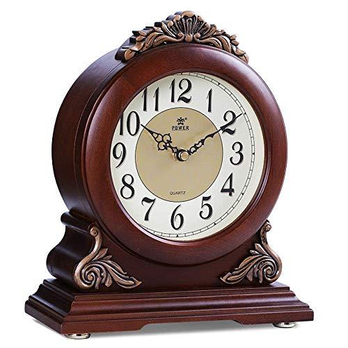 Relojes de la chimenea Permanente cuarzo del reloj de tabla libre de los relojes de la plataforma del reloj del escritorio retro elegante sala de vivir pendiente dormitorio mute simple reloj de madera