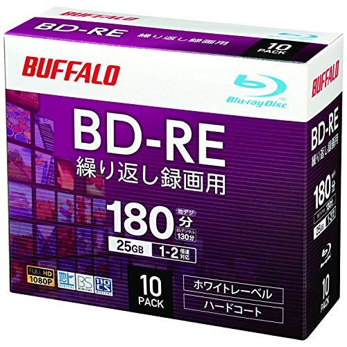 バッファロー ブルーレイディスク BD-RE くり返し録画用 25GB 10枚 スリムケース 片面1層 1-2倍速 ホワイトレーベル RO-BE25V-010CW/N