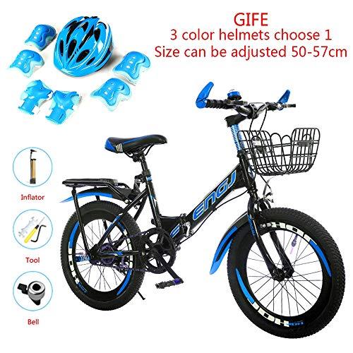 LMJ-Kart Kinderfahrrad Fahrrad Mountainbike 2-farbig, 18/20/22 Zoll Rad, Rahmen aus hochwertigem Kohlenstoffstahl, Geschenkhelm-Set,Blue,22inch
