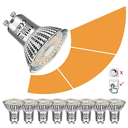 EACLL Gu10 LED Dimmbar Leuchtmittel 2700K Warmweiss 6W 570 Lumen Par16 Lampen, 3 Helligkeiten, 3-stufiges Dimmen mit Gewöhnlicher Schalter. Dimmbar ohne Dimmer. 3-in-1 lichtanpassung Birnen, 8er Pack